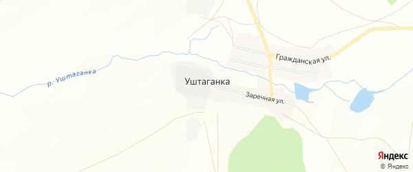 Карта деревни Уштаганки в Челябинской области с улицами и номерами домов