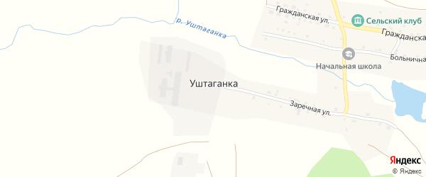 Больничная улица на карте деревни Уштаганки с номерами домов