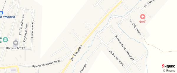 Улица Ельцова на карте Верхнего Уфалея с номерами домов