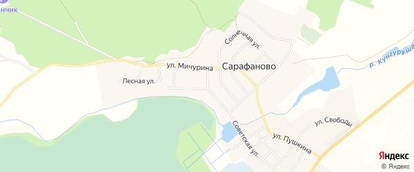 Карта деревни Сарафаново в Челябинской области с улицами и номерами домов