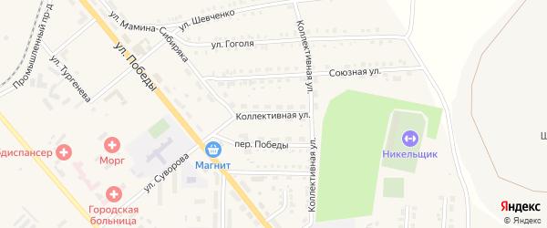 Коллективная улица на карте Верхнего Уфалея с номерами домов