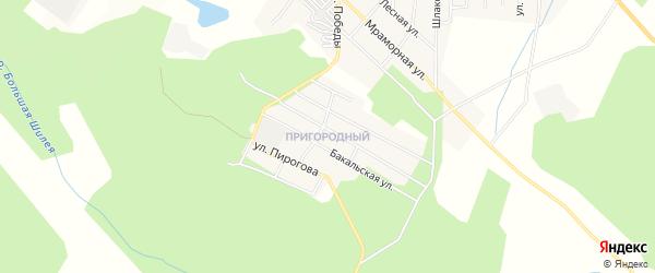Карта Пригородного поселка города Верхнего Уфалея в Челябинской области с улицами и номерами домов