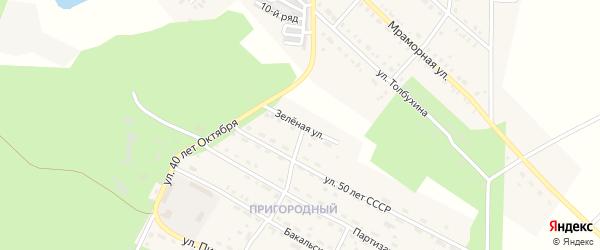 Зеленая улица на карте Пригородного поселка с номерами домов