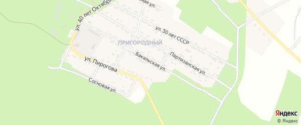 Бакальская улица на карте Пригородного поселка с номерами домов