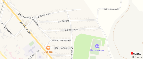 Союзная улица на карте Верхнего Уфалея с номерами домов
