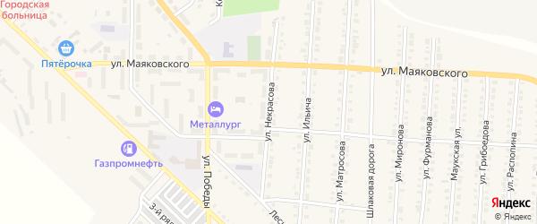 Улица Некрасова на карте Верхнего Уфалея с номерами домов