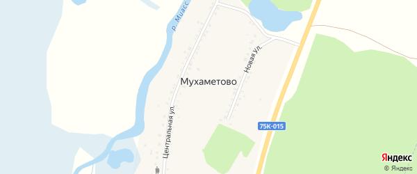 Центральная улица на карте поселка Мухаметово с номерами домов