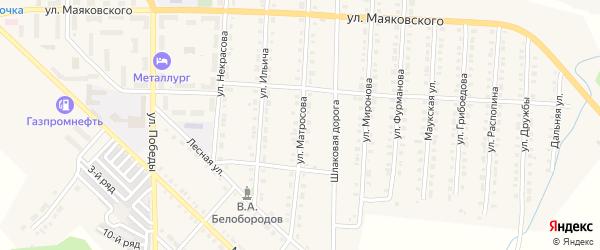 Улица Матросова на карте Верхнего Уфалея с номерами домов