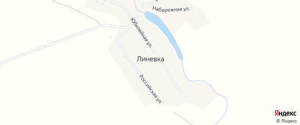 Российская улица на карте поселка Линевки с номерами домов