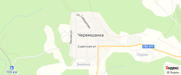 Карта поселка Черемшанки города Верхнего Уфалея в Челябинской области с улицами и номерами домов