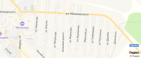 Улица Миронова на карте Верхнего Уфалея с номерами домов