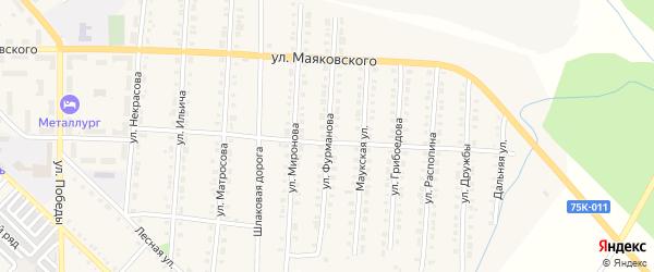 Улица Фурманова на карте Верхнего Уфалея с номерами домов