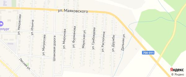 Улица Грибоедова на карте Верхнего Уфалея с номерами домов