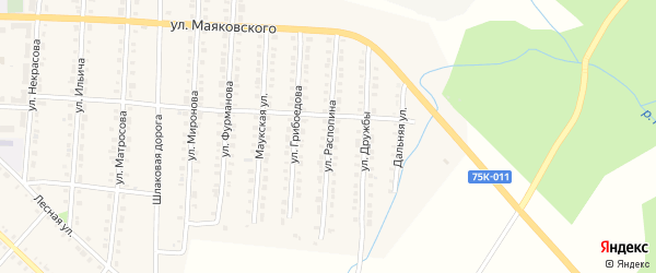 Улица Распопина на карте Верхнего Уфалея с номерами домов