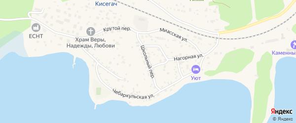 Школьный переулок на карте Чебаркуля с номерами домов