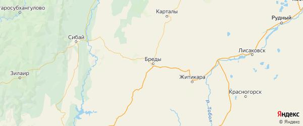 Карта Брединского района Челябинской области с городами и населенными пунктами