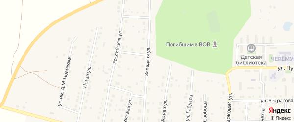 Западная улица на карте поселка Бредов с номерами домов