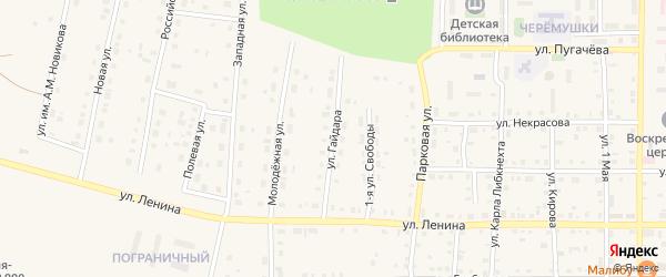 Улица Гайдара на карте поселка Бредов с номерами домов