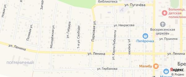 Парковая улица на карте поселка Бредов с номерами домов