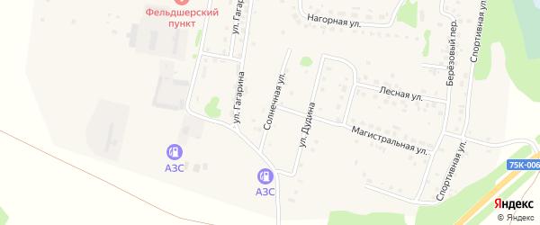 Солнечная улица на карте деревни Борового с номерами домов