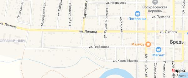 Улица Шевченко на карте поселка Бредов с номерами домов