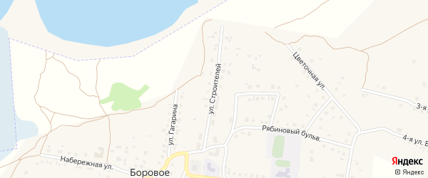 Улица Строителей на карте деревни Борового с номерами домов