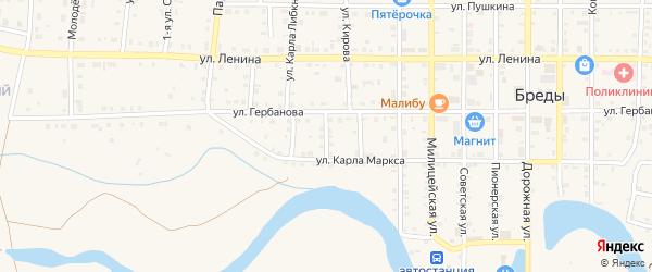 Улица 8 Марта на карте поселка Бредов с номерами домов