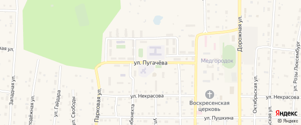 Улица Пугачева на карте поселка Бредов с номерами домов
