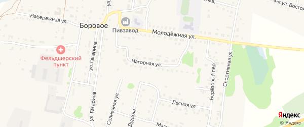 Нагорная улица на карте деревни Борового с номерами домов