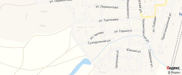 Улица Чехова на карте поселка Бредов с номерами домов