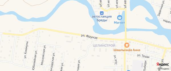 Улица Фрунзе на карте поселка Бредов с номерами домов