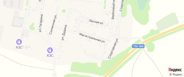 Магистральная улица на карте деревни Борового с номерами домов