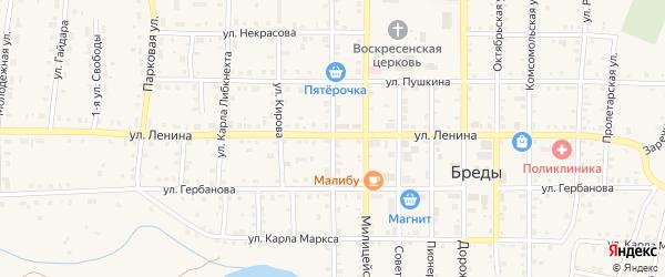 1 Мая улица на карте поселка Бредов с номерами домов