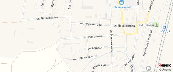 Улица Островского на карте поселка Бредов с номерами домов