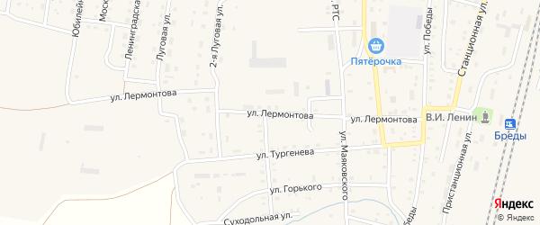 Улица Лермонтова на карте поселка Бредов с номерами домов