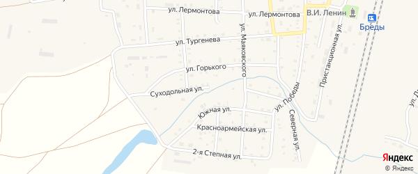 Суходольная улица на карте поселка Бредов с номерами домов