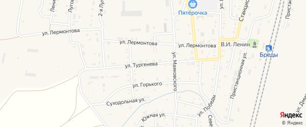 Улица Тургенева на карте поселка Бредов с номерами домов
