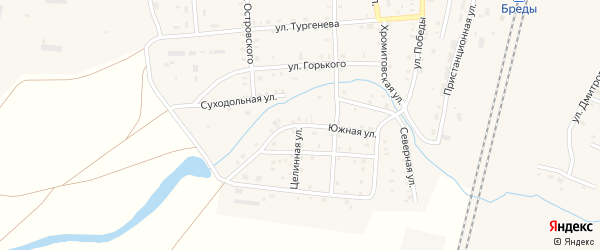 Южная улица на карте поселка Бредов с номерами домов