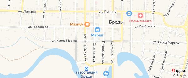 Советская улица на карте поселка Бредов с номерами домов