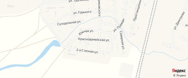 Красноармейская улица на карте поселка Бредов с номерами домов