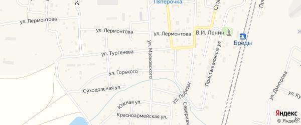 Улица Маяковского на карте поселка Бредов с номерами домов