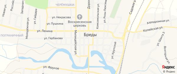 Карта поселка Бредов в Челябинской области с улицами и номерами домов
