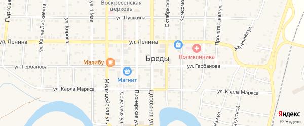Весенний переулок на карте поселка Бредов с номерами домов