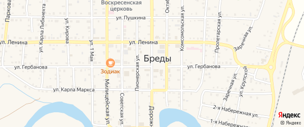 Улица Ретранслятор на карте поселка Бредов с номерами домов