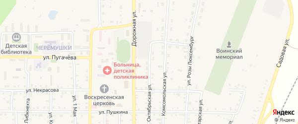 Октябрьская улица на карте поселка Бредов с номерами домов