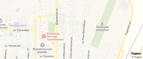 Комсомольская улица на карте поселка Бредов с номерами домов