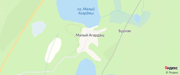 Карта поселка Малого Агардяша города Карабаша в Челябинской области с улицами и номерами домов