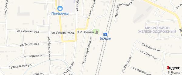 Пристанционная улица на карте поселка Бредов с номерами домов