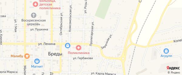 Пролетарская улица на карте поселка Бредов с номерами домов