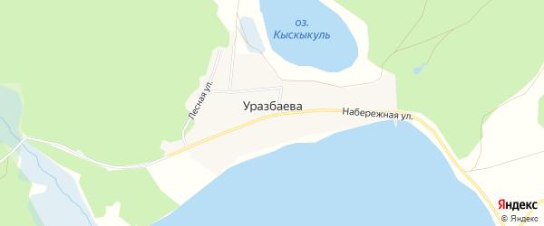 Карта деревни Уразбаева в Челябинской области с улицами и номерами домов